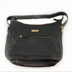Cole Haan black embossed snakeskin shoulder bag